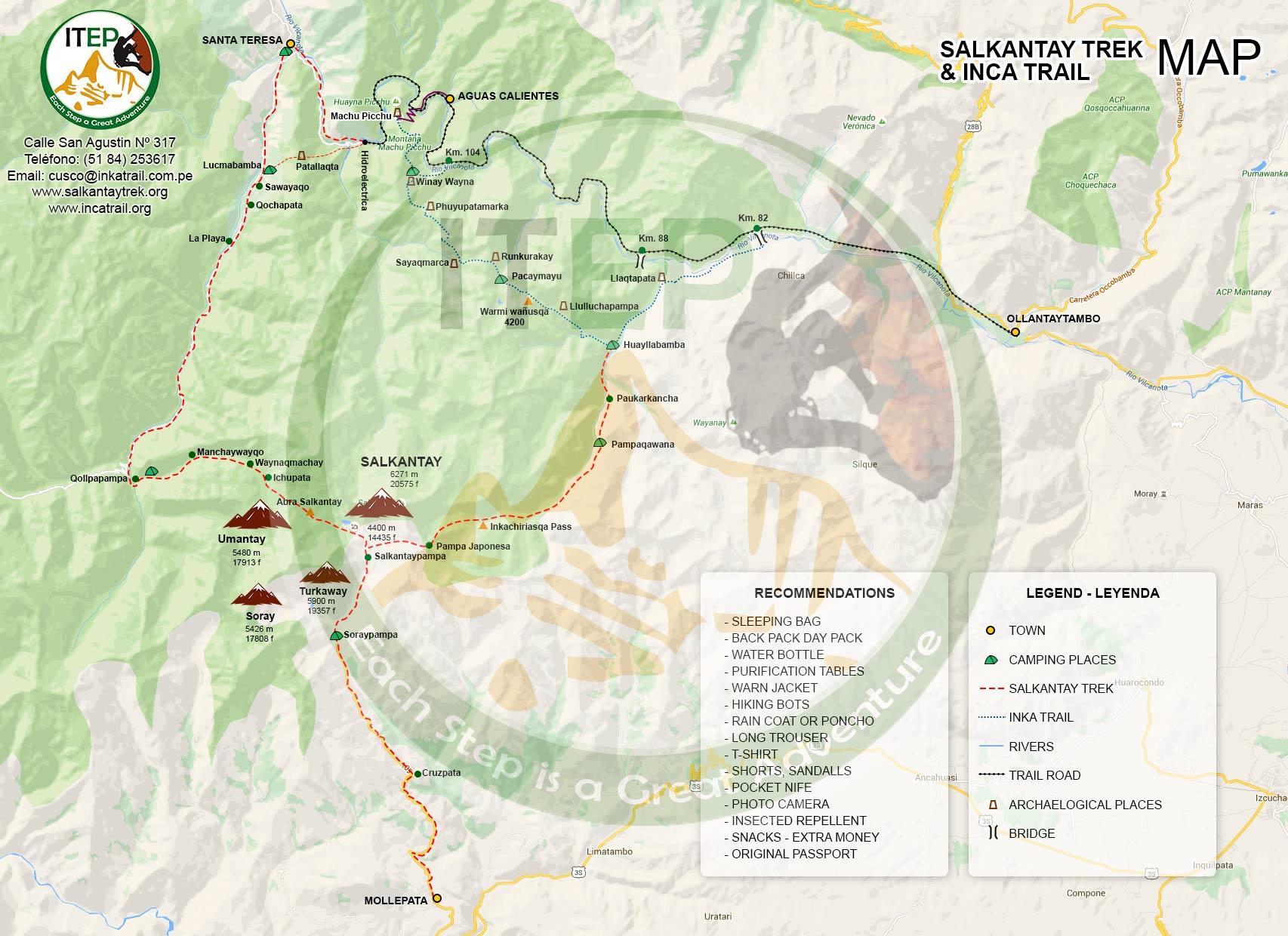 Salkantay Trek Map to Machu Picchu
